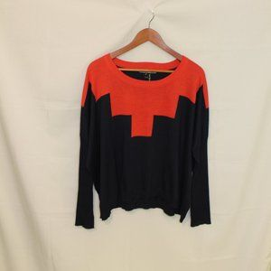 Love Stitch Orange Blue Sweater Size L